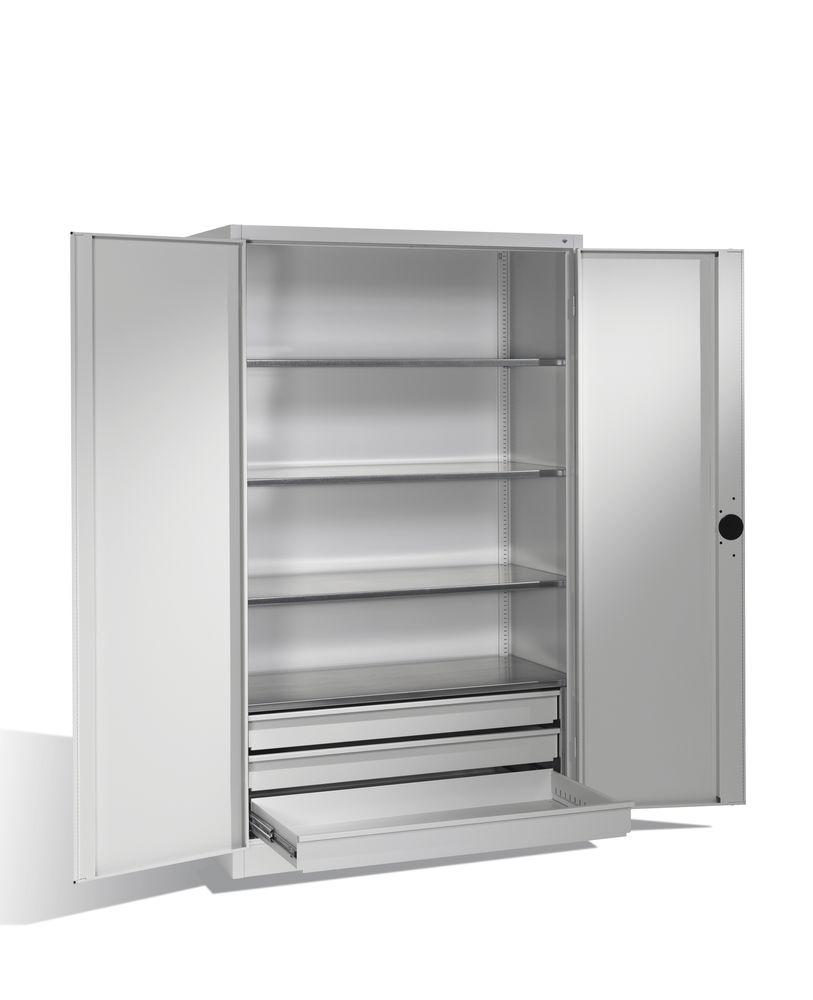 Heavy duty tool storage cabinet Cabo, wing doors, 4 shelves, 3 draws, W 1200, D 600, H 1950 mm, grey