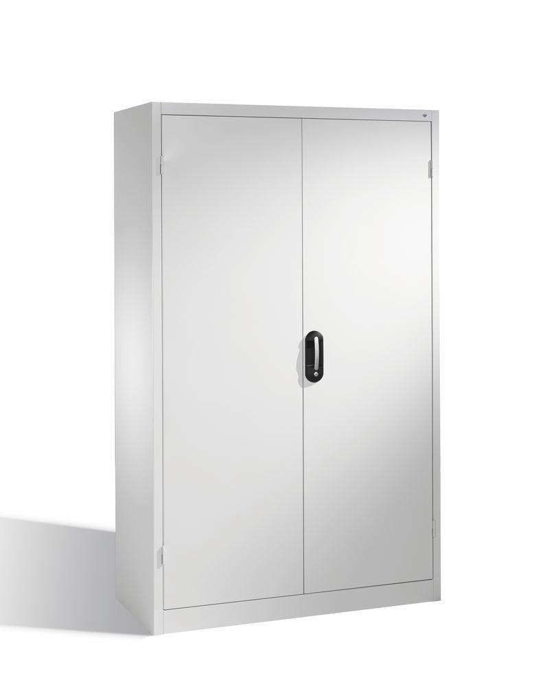 Heavy duty tool storage cabinet Cabo, wing doors, 4 shelves, W 1200, D 400, H 1950 mm, grey
