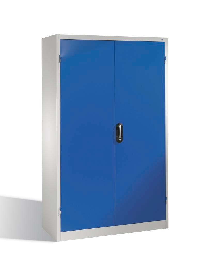 Heavy duty tool storage cabinet Cabo, wing doors, 4 shelves, W 1200, D 400, H 1950 mm, grey/blue
