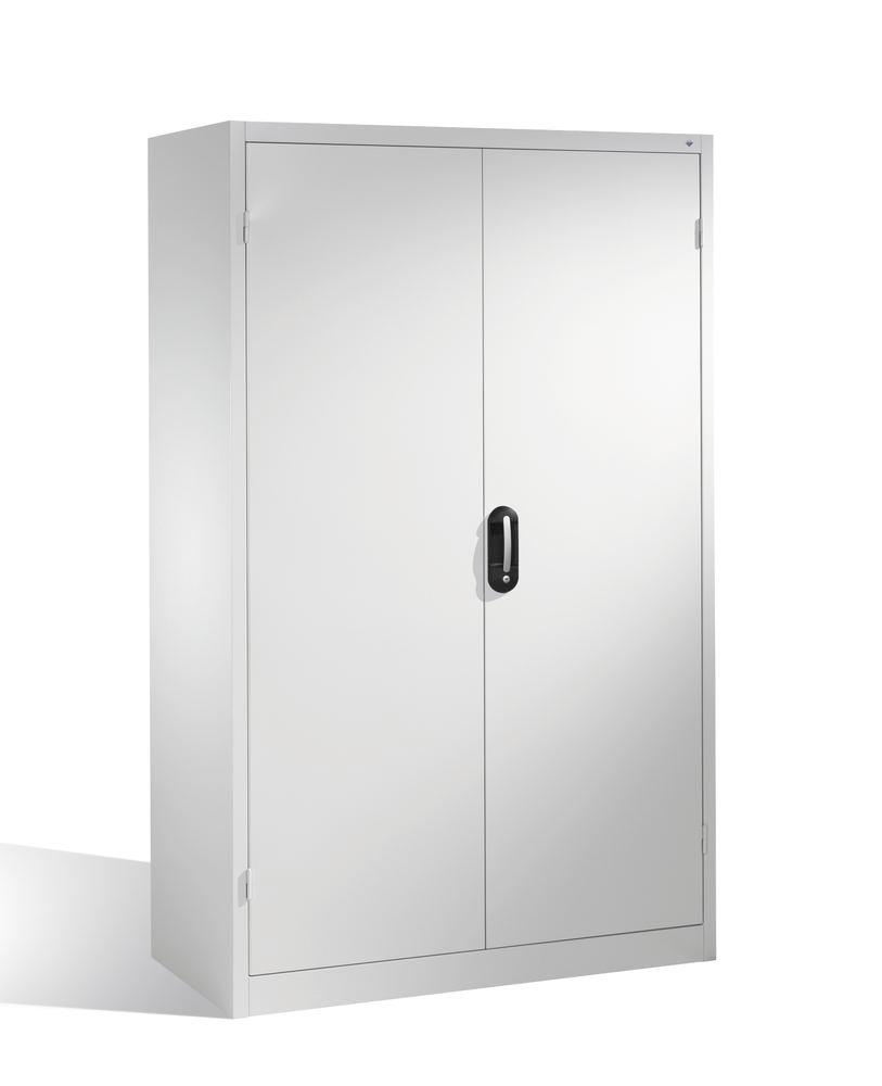 Heavy duty tool storage cabinet Cabo, wing doors, 4 shelves, W 1200, D 600, H 1950 mm, grey