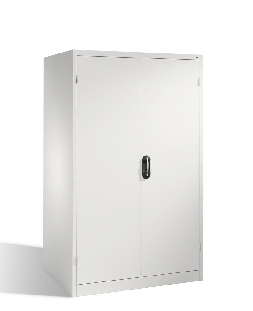 Heavy duty tool storage cabinet Cabo, wing doors, 4 shelves, W 1200, D 800, H 1950 mm, grey