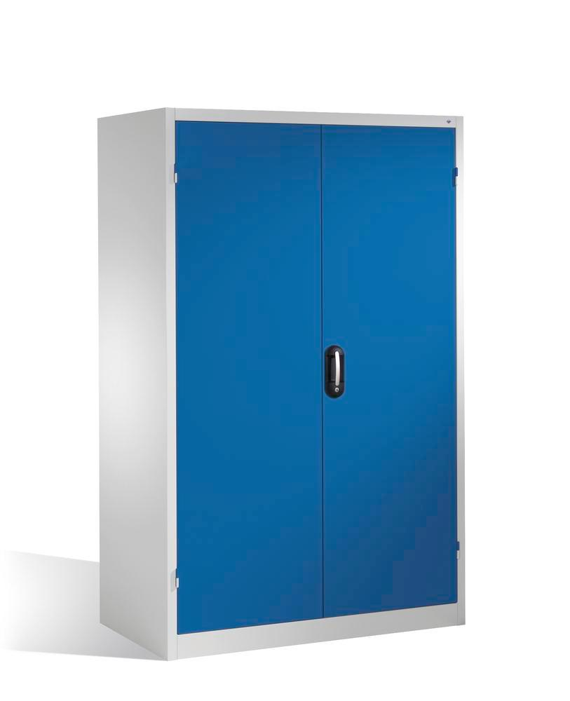 Heavy duty tool storage cabinet Cabo, wing doors, 4 shelves, W 1200, D 800, H 1950 mm, grey/blue