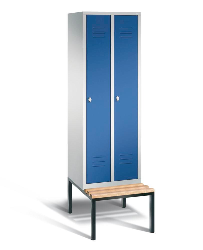 Locker with bench Cabo, 2 compartments, W 610, H 2090, D 500/815, grey/blue