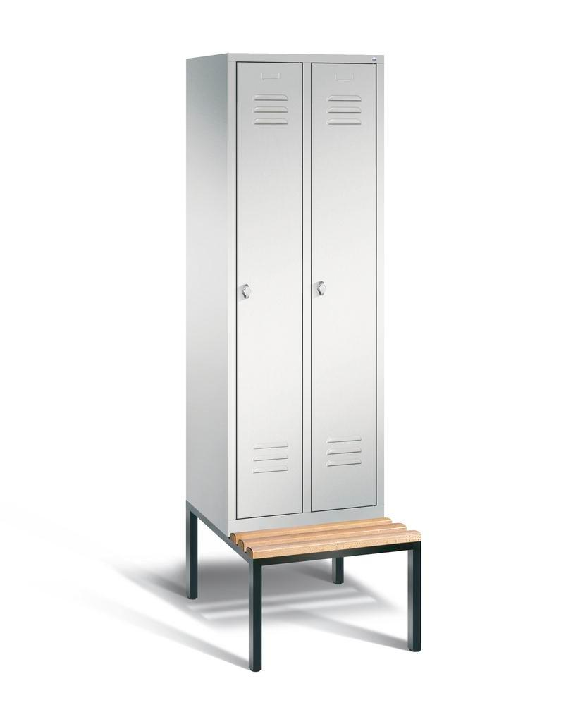 Locker with bench Cabo, 2 compartments, W 610, H 2090, D 500/815, grey/grey