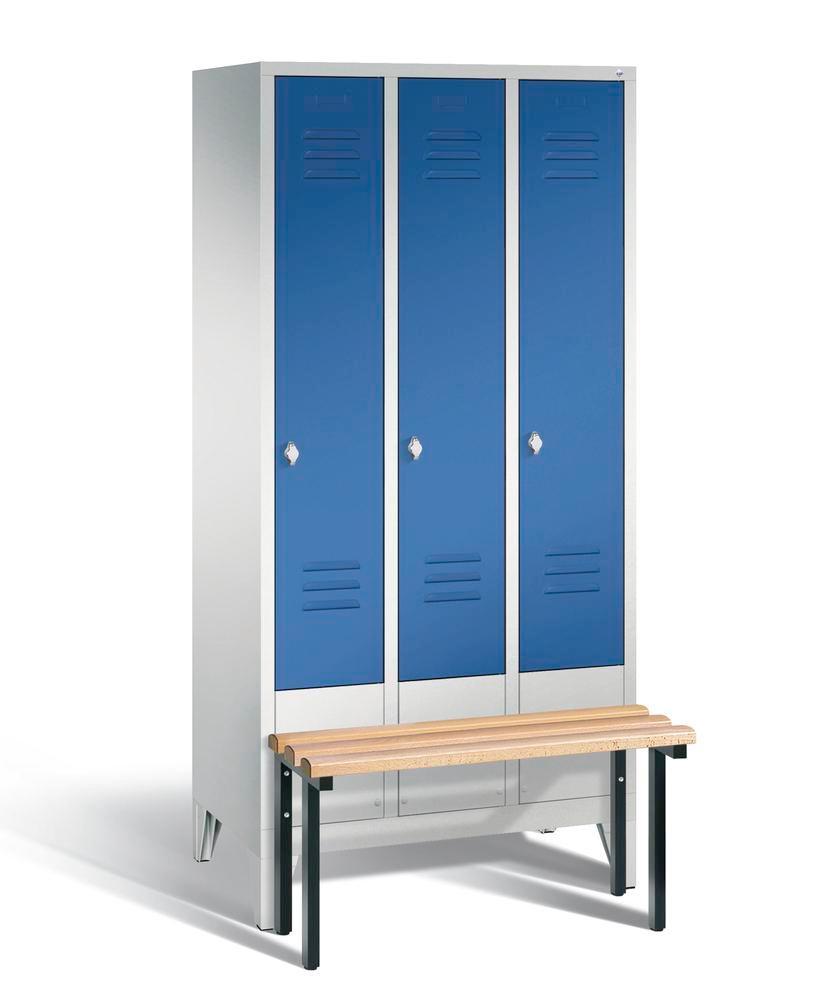 Locker with bench Cabo, 3 compartments, W 900, H 1850, D 500/815, grey/blue