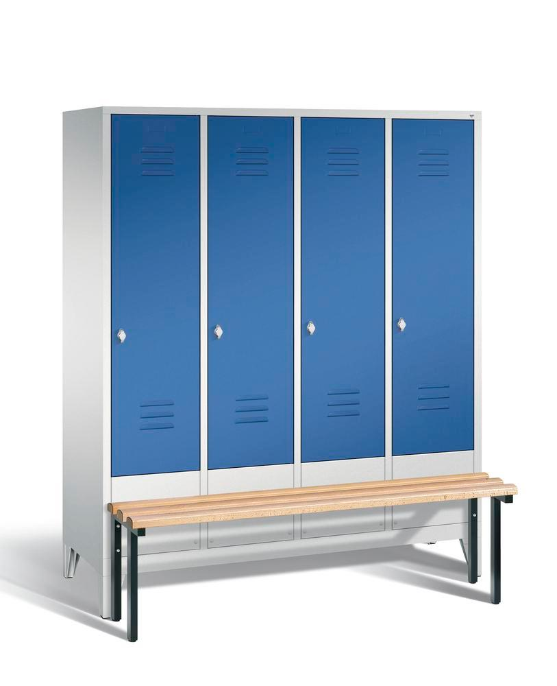 Locker with bench Cabo, 4 compartments, W 1590, H 1850, D 500/815, grey/blue