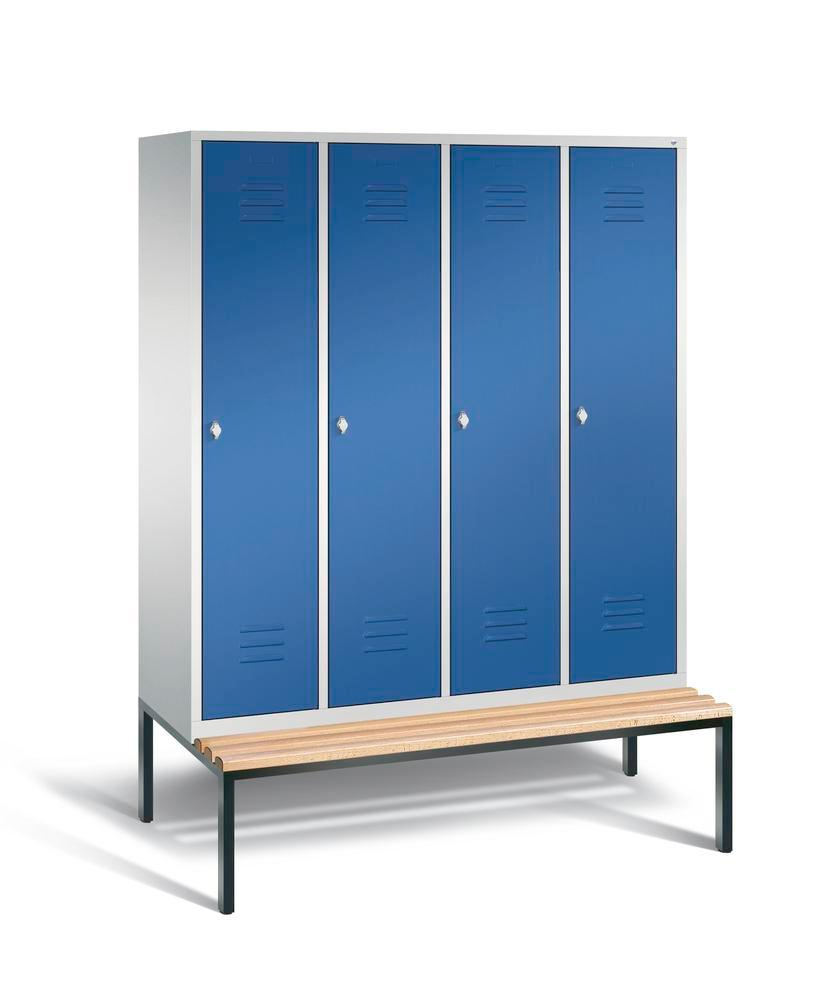 Locker with bench Cabo, 4 compartments, W 1590, H 2090, D 500/815, grey/blue