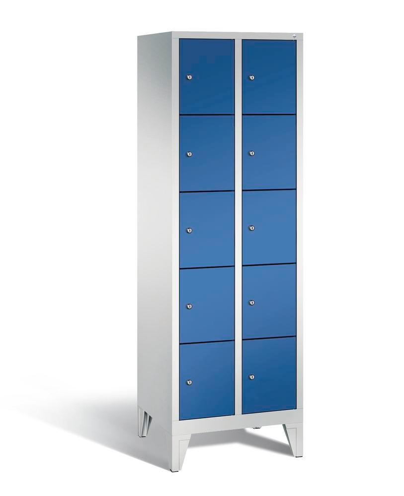 Locker with feet Cabo, 10 compartments, W 610, H 1850, D 500 mm, grey/blue