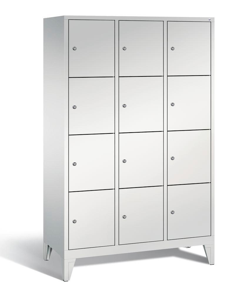 Locker with feet Cabo, 12 compartments, W 1200, H 1850, D 500 mm, grey/grey