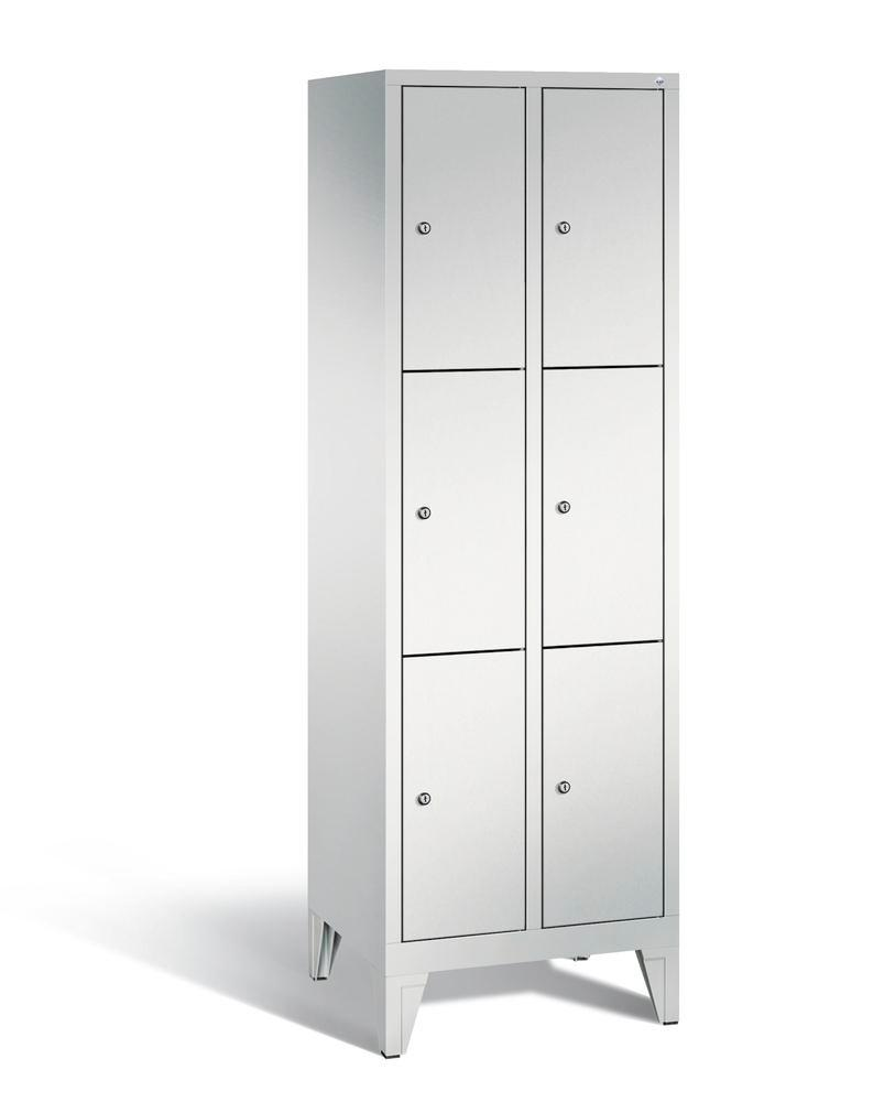 Locker with feet Cabo, 6 compartments, W 610, H 1850, D 500 mm, grey/grey