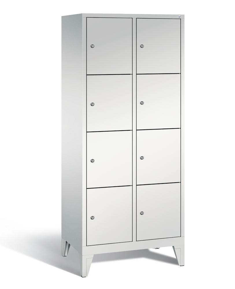 Locker with feet Cabo, 8 compartments, W 810, H 1850, D 500 mm, grey/grey