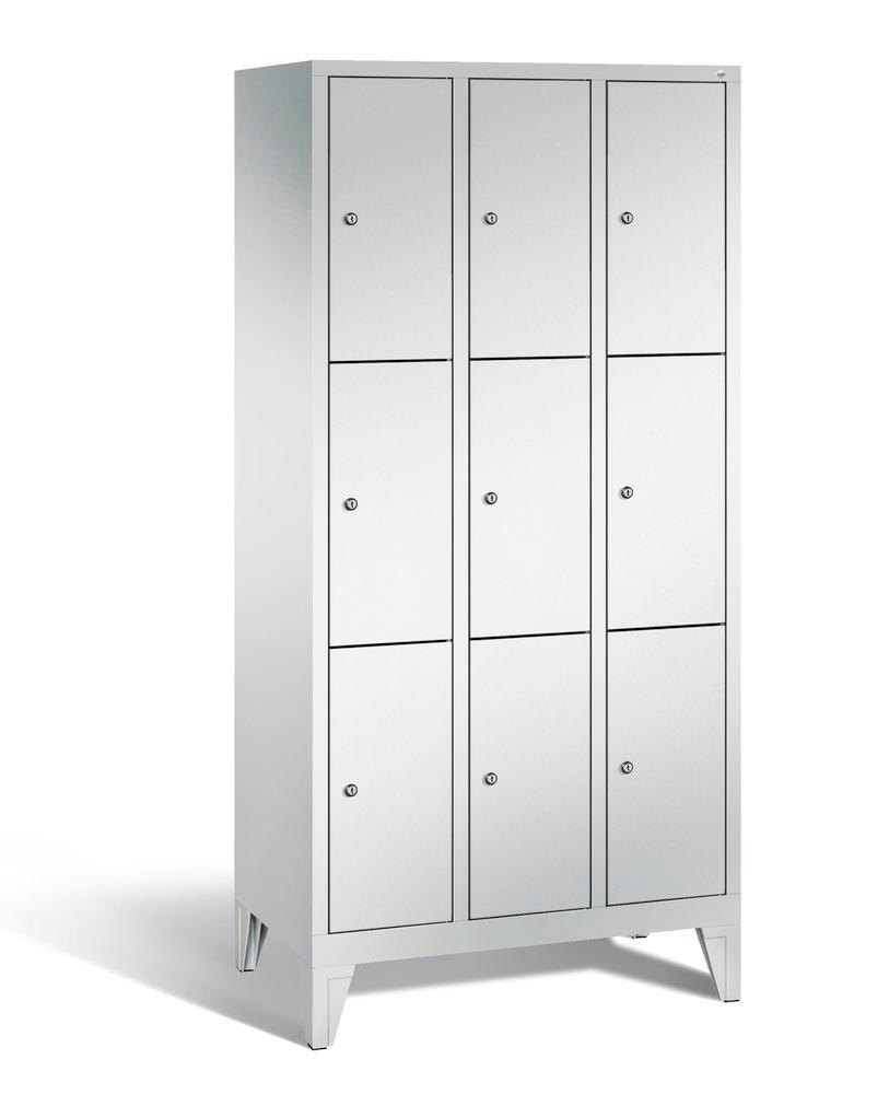 Locker with feet Cabo, 9 compartments, W 900, H 1850, D 500 mm, grey/grey