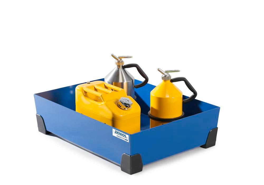 Spill tray for small containers classic-line in steel, painted, no grid, 76 litre, 774x584x200
