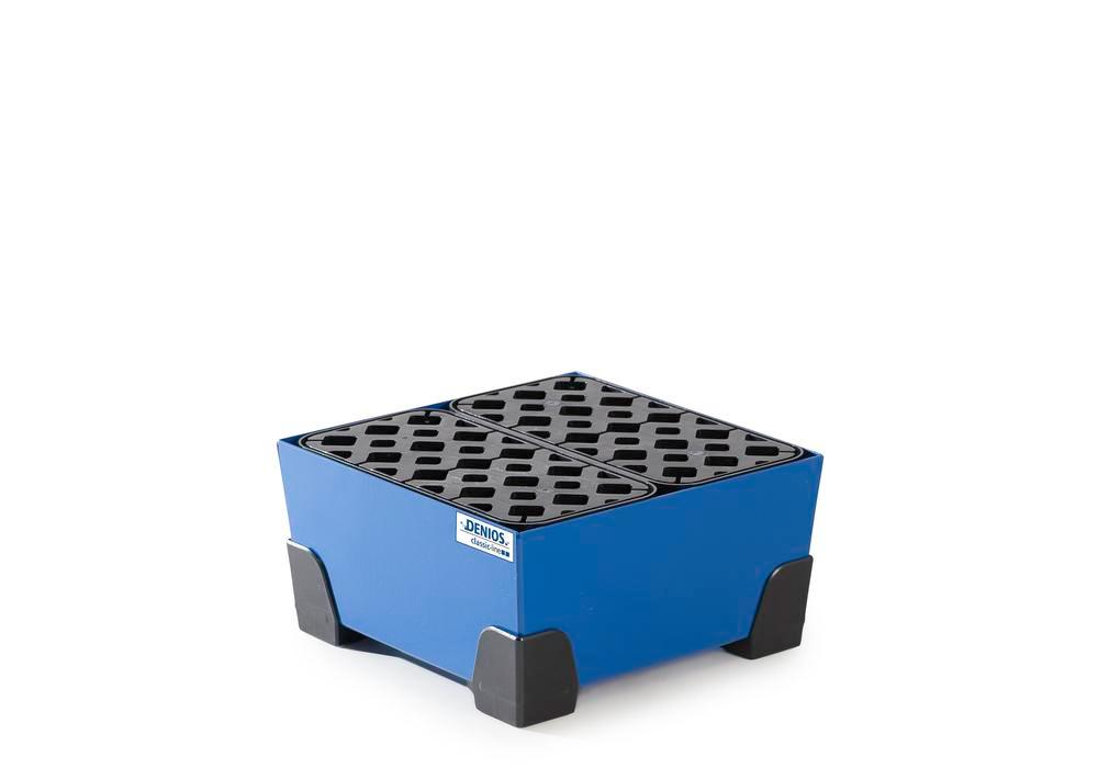 Spill tray for small containers classic-line in steel, painted, with PE grid, 25 litre, 392x392x200