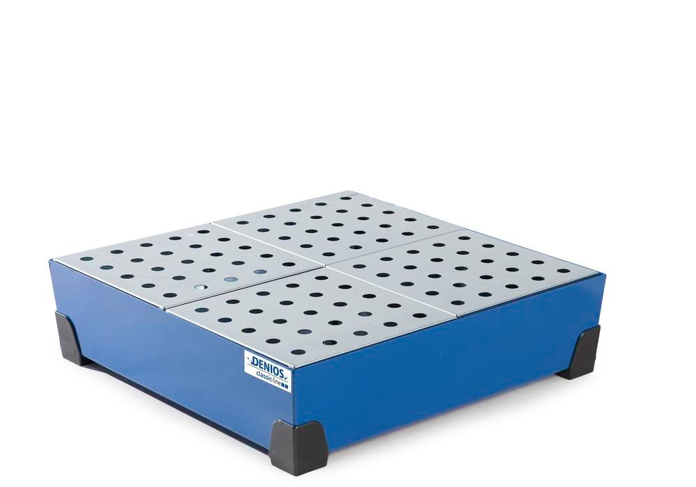 Spill tray for small containers classic-line, steel, paint, w galv. perf. sh, 102 litre, 774x774x200