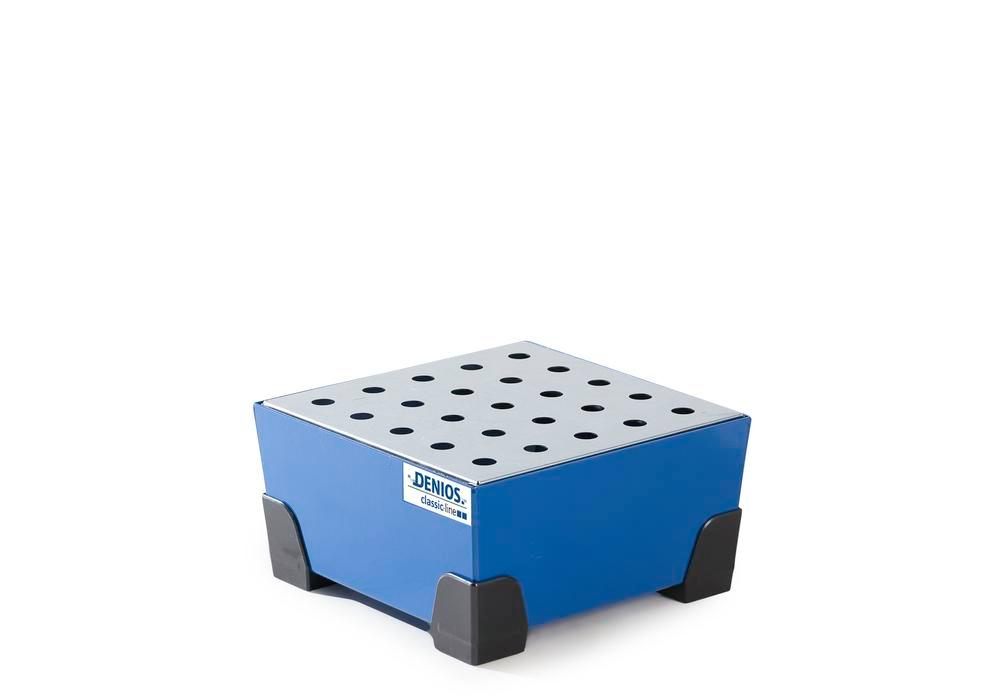 Spill tray for small containers classic-line, steel, paint, w galv. perf. sh, 25 litre, 392x392x200