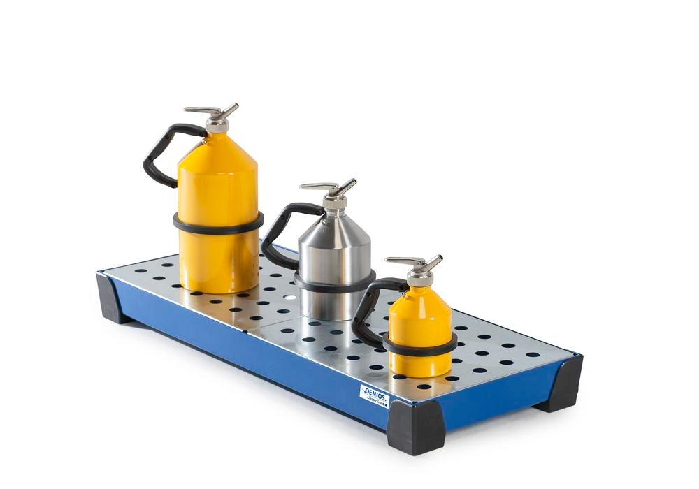 Spill tray for small containers classic-line, steel, paint, w galv. perf. sh, 29 litre, 987x400x95