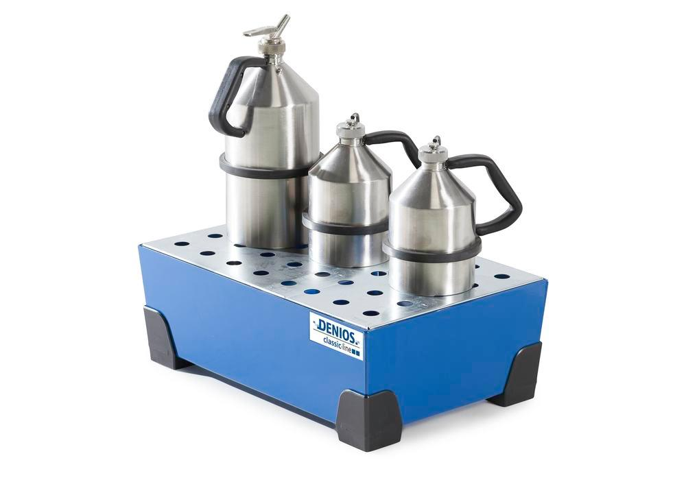 Spill tray for small containers classic-line, steel, paint, w galv. perf. sh, 38 litre, 584x392x200