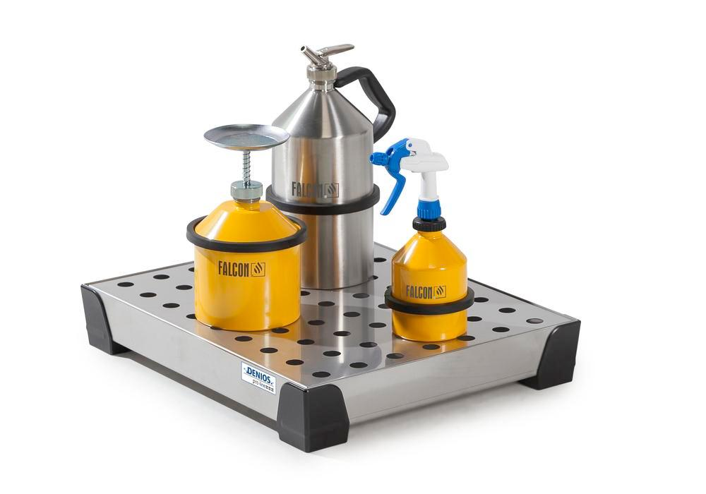 Spill tray for small containers pro-line in st steel, with st steel perf sheet 15 litres, 500x400x95