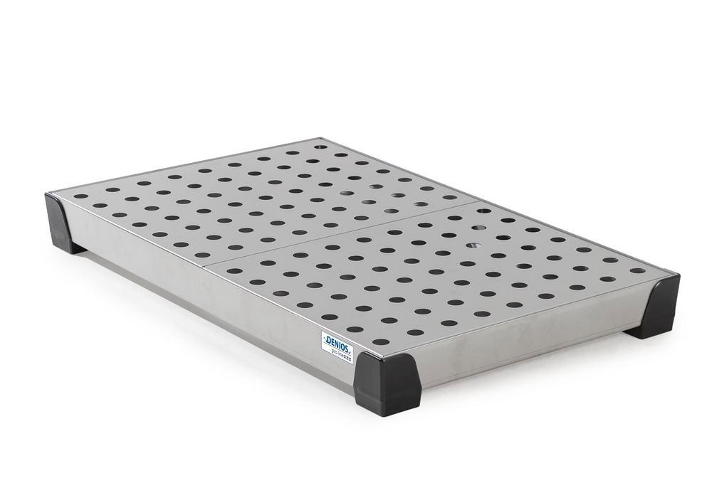 Spill tray for small containers pro-line in st steel, with st steel perf sheet,30 litres, 987x600x95