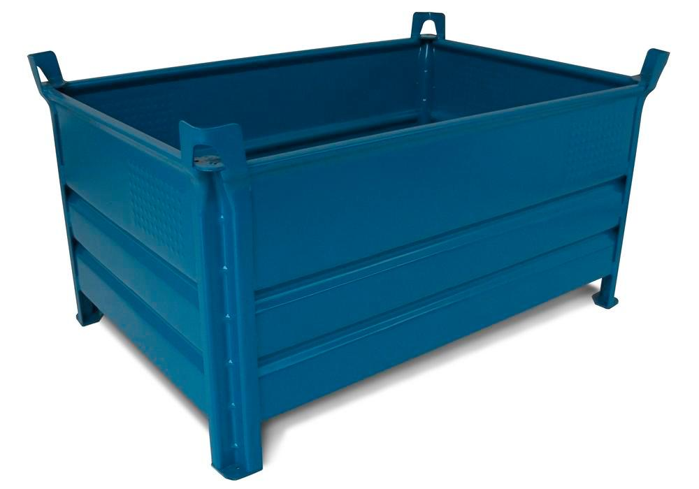 Stacking container SP 8010 Profi in steel, 400 litre volume, blue