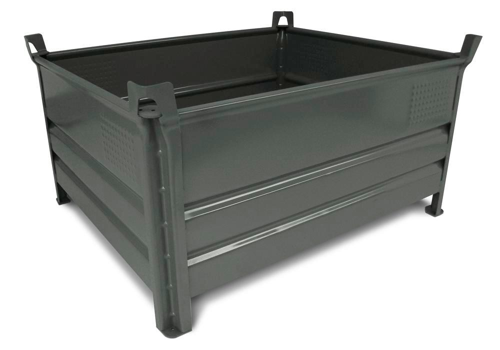 Stacking container SP 8012 Profi in steel, 480 litre volume, grey