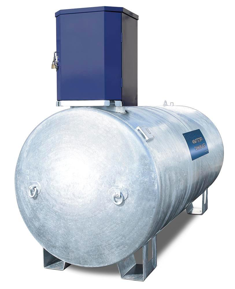 Stationary fuel tank KA1500 for diesel and heating oil, 1500 litre, with 230V pump and accessories