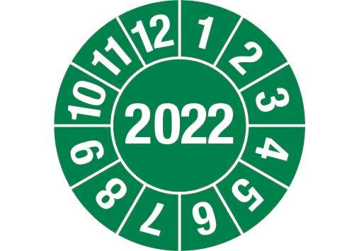 "Test sticker ""2022"", green, film 15mm, sheet/60 stickers"