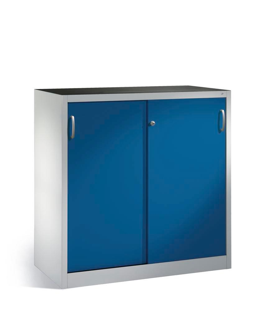 Tool storage cabinet Cabo with sliding doors, 2 shelves, W 1200, D 500, H 1200 mm, grey/blue
