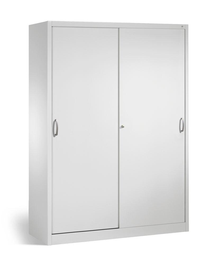 Tool storage cabinet Cabo with sliding doors, 8 shelves, W 1600, D 400, H 1950 mm, grey