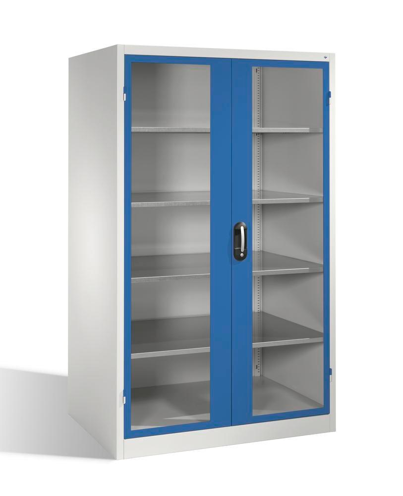 Tooling equipment cabinet Cabo, wing drs, 4 shelv, view. window, W 1200, D 800, H 1950 mm, grey/blue