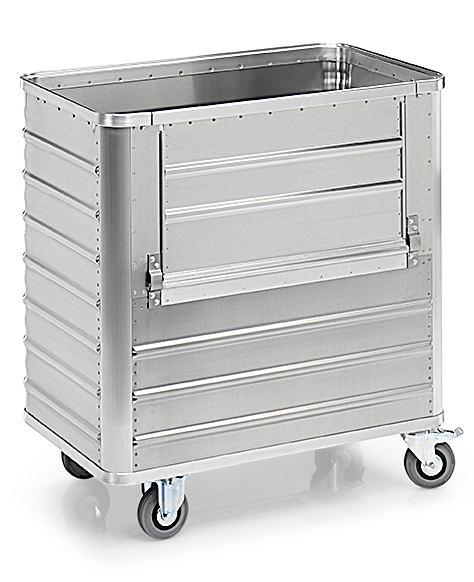 Transport container TW 360-B, without lid, fold-down flap, 2 swivel and 2 fixed wheels, 360 litres