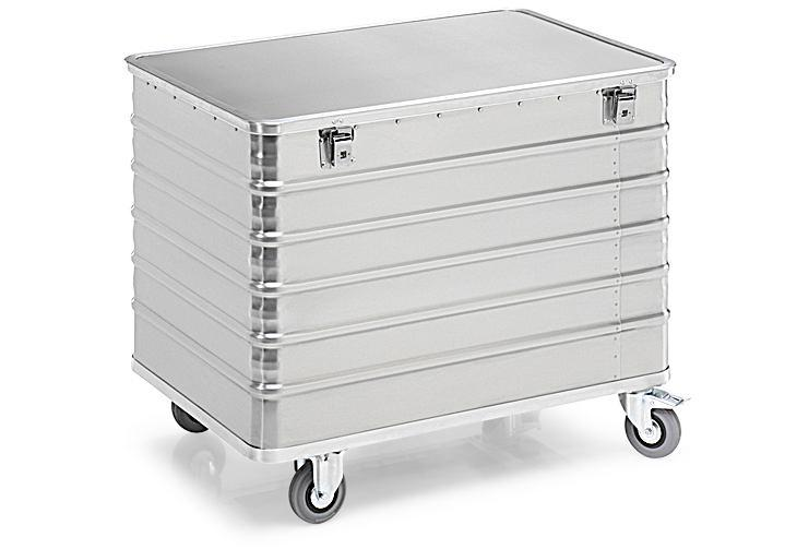 Transport container TW 415-B, with lid, 4 closed sides, 2 swivel and 2 fixed wheels, 415 litres
