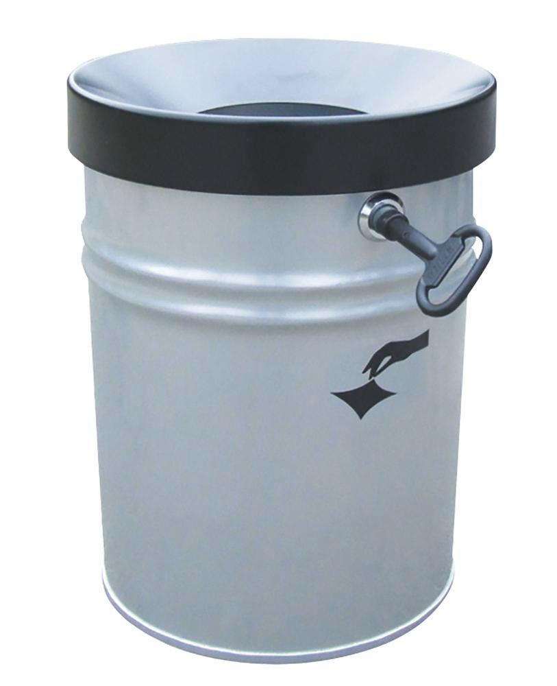 Self-extinguishing waste bin, 24 litres, steel, new silver