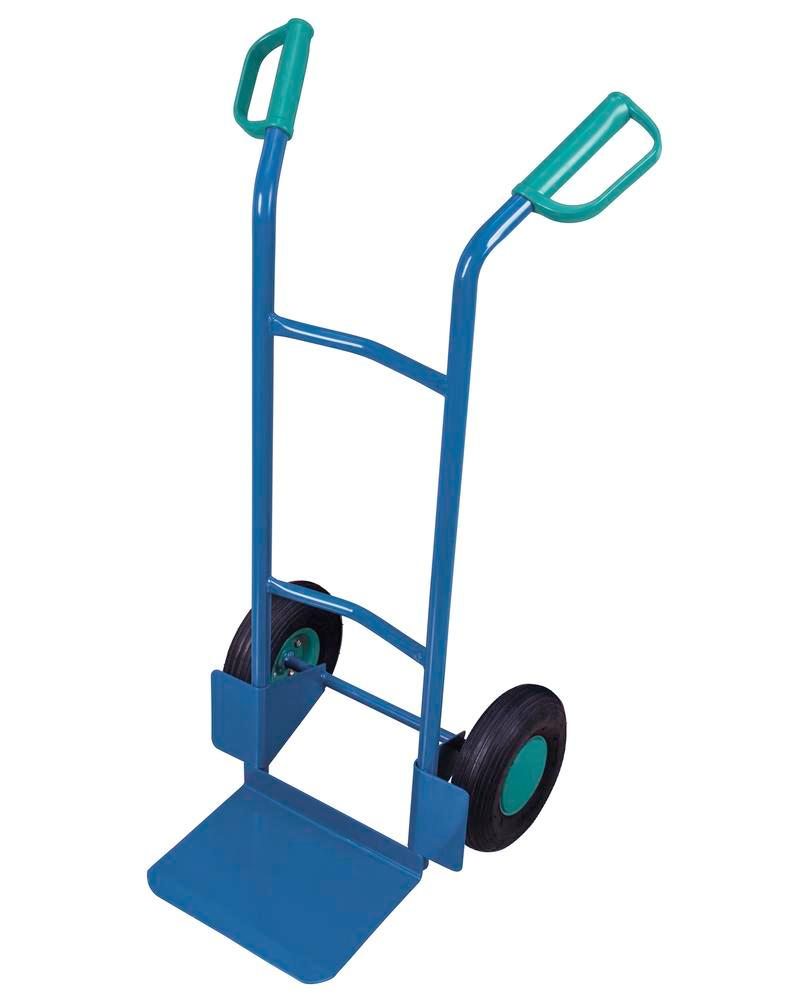 Transport trolley DENIOS classic-line in steel, pneumatic tyres, base 320x250mm, 200kg