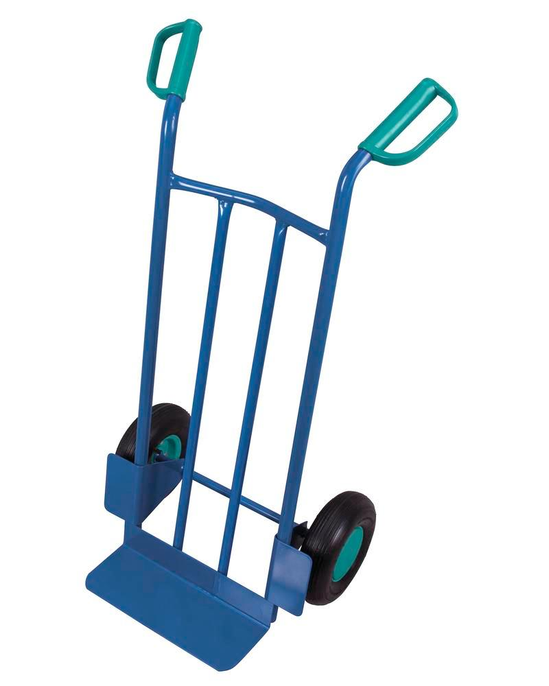 Transport trolley DENIOS classic-line in steel, pneumatic tyres, base 400x150mm, 250kg