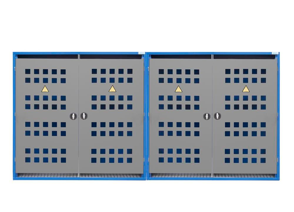 Gas cylinder cabinet Model LB 12, for 12 x 33 kg cylinders or 24 x 11 kg cylinders, 2 x 2-wing door