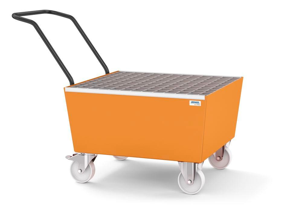 Mobile spill pallet base-line in steel for 1 x 205 litre drum, painted, with grid