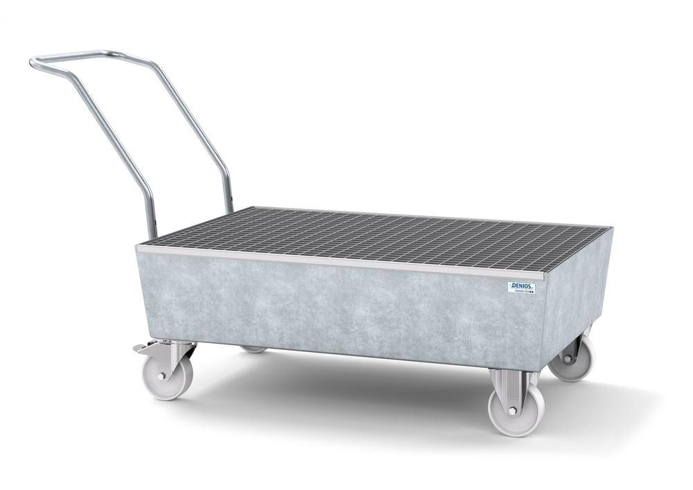 Mobile spill pallet classic-line in steel for 2 x 205 l drums, galvanised, with grid
