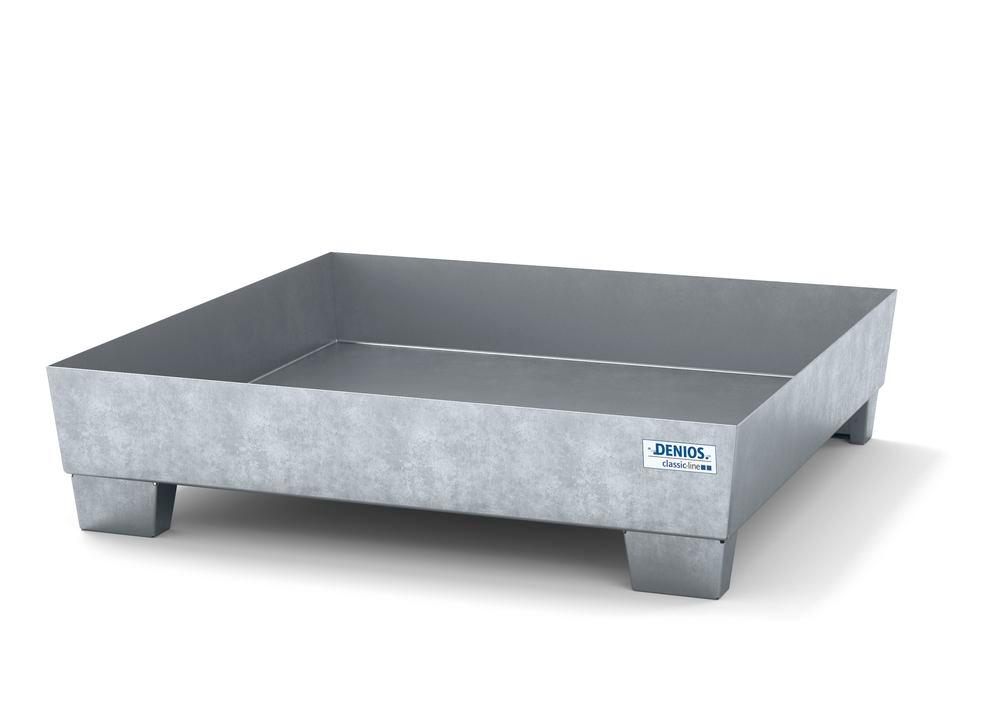 Spill pallet classic-line in steel for 1 drum galv. accessible underneath no grid, 1236x1210x290