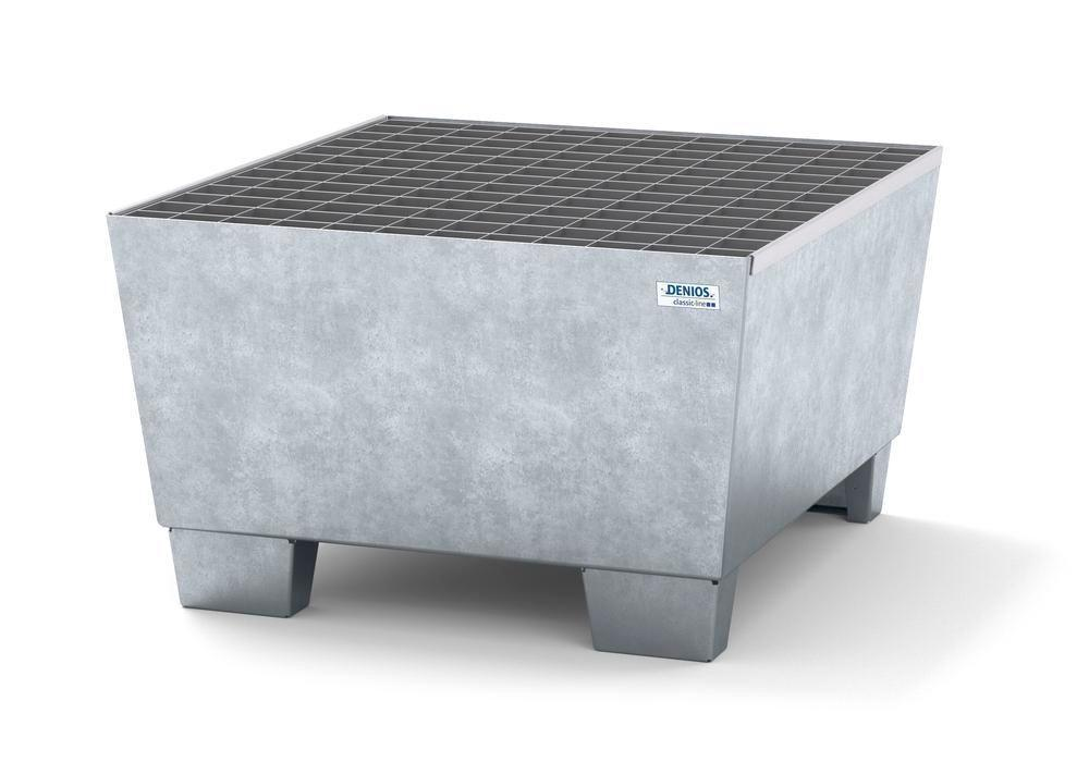 Spill pallet classic-line in steel for 1 drum, galv., accessible underneath, with grid 885x815x478