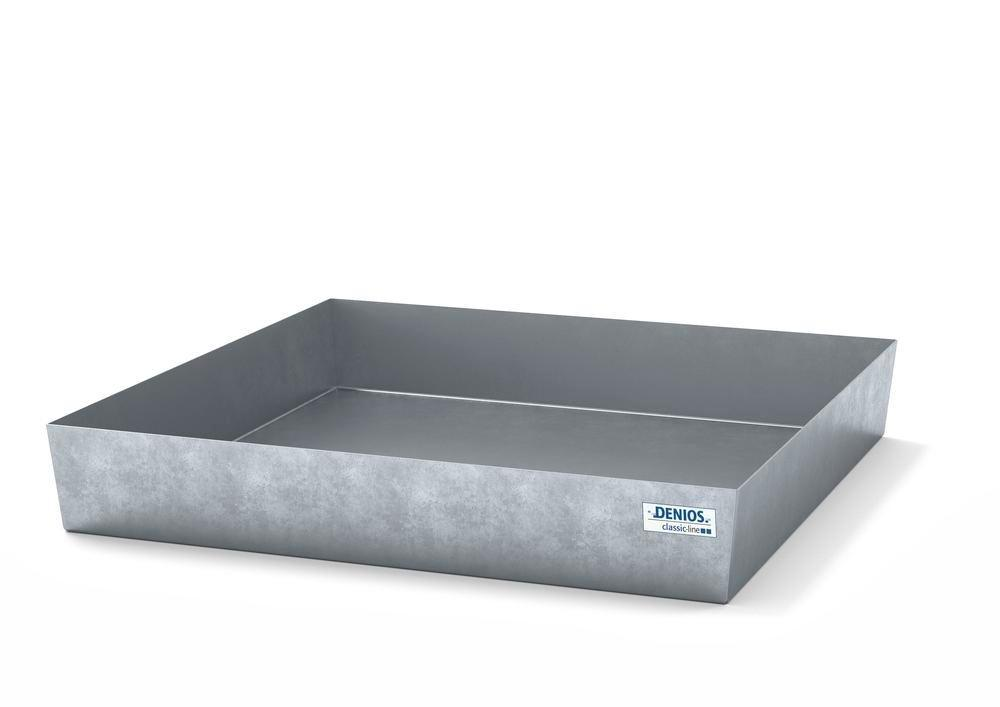 Spill pallet classic-line in steel for 1 drum, galvanised, no grid, 1236x1210x190
