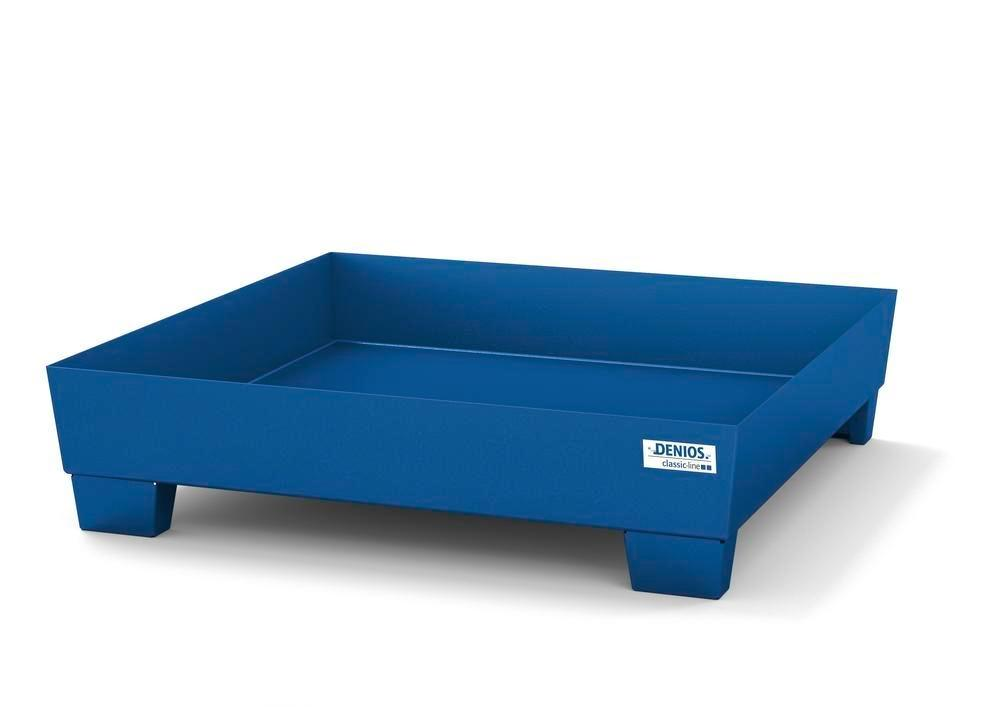 Spill pallet classic-line in steel for 1 drum painted, accessible underneath, no grid, 1236x1210x290