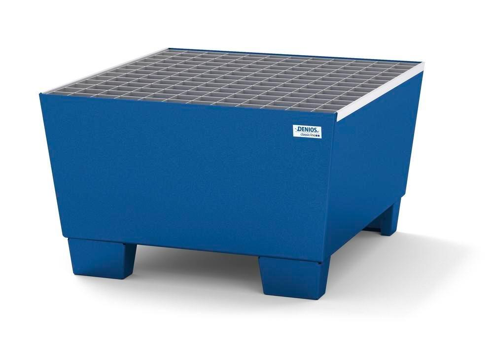 Spill pallet classic-line in steel for 1 drum, painted accessible underneath, with grid, 885x815x478