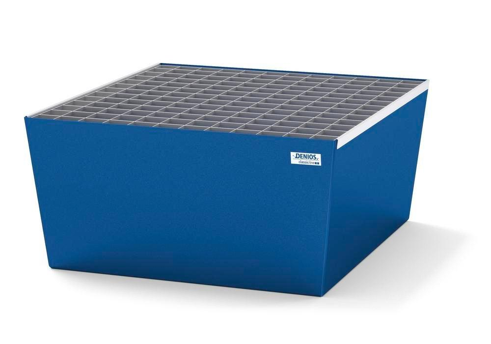 Spill pallet classic-line in steel for 1 drum, painted, with grid, 885x815x378