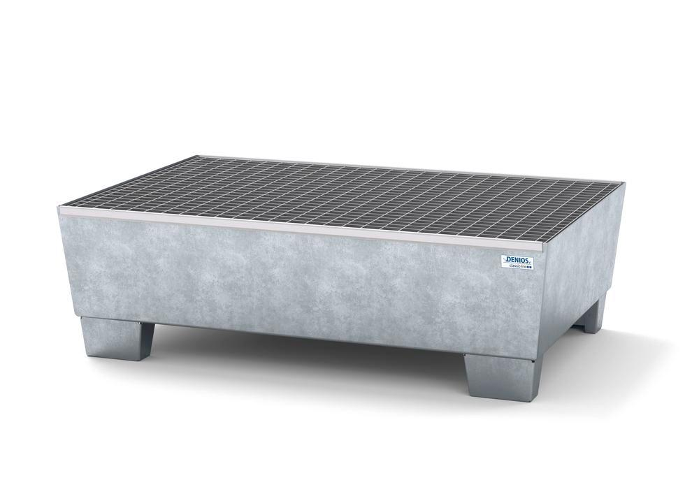 Spill pallet classic-line in steel for 2 drums, galv., accessible underneath with grid, 1236x815x355