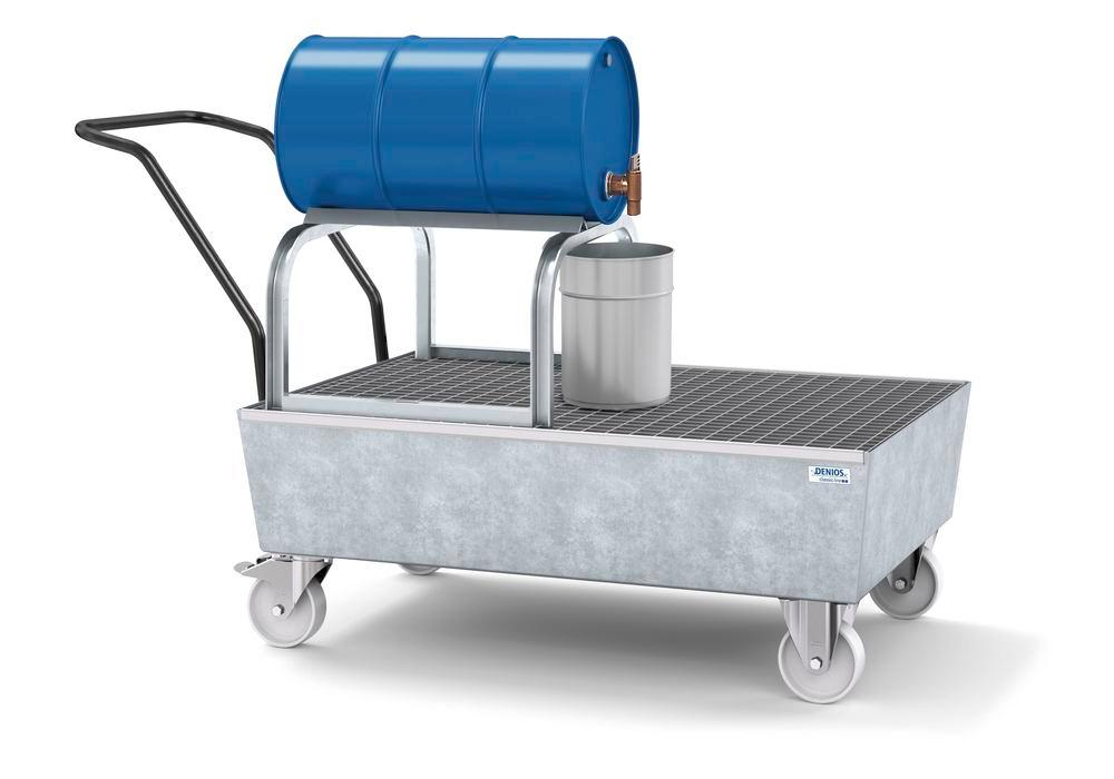 Mobile spill pallet classic-line in steel for 1 x 205 l drum, galvanised, with grid and drum support