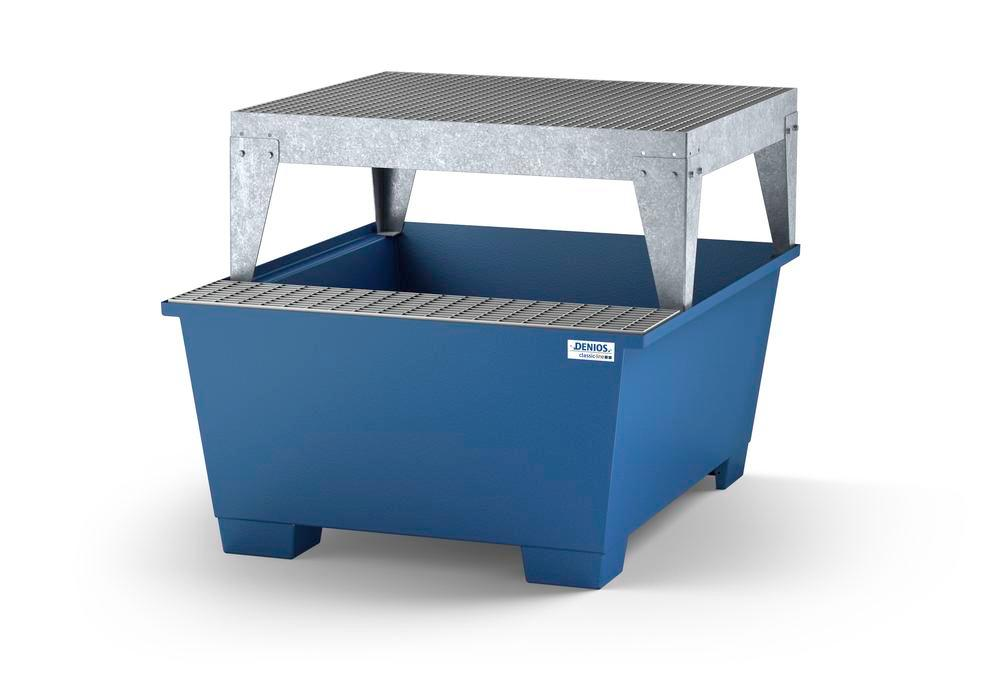 Spill pallet classic-line in steel dispensing area for 1 IBC, painted, with dispensing platform