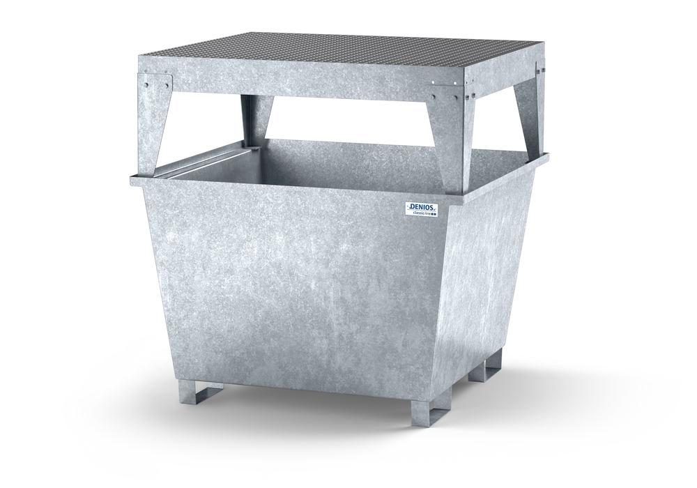 Spill pallet classic-line in steel for 1 IBC, galvanised, dispensing platform