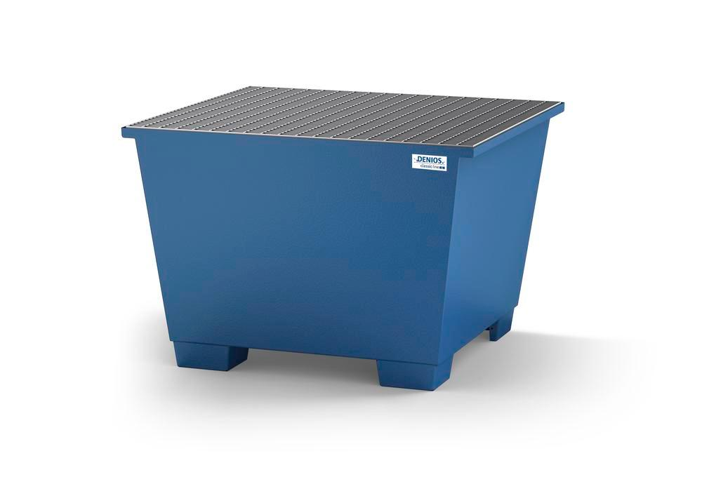 Spill pallet classic-line in steel for 1 IBC, painted, with grid
